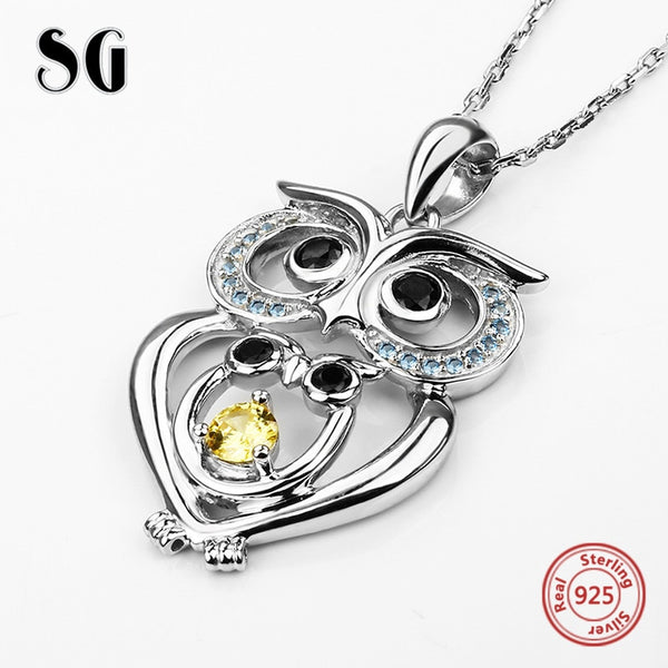 925 Sterling Silver European Zircon Owl Necklace and Pendant
