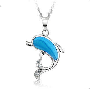 Lovely Silver Blue Dolphin Necklace and Pendant