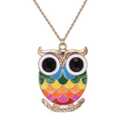 Colorful Cartoon  Owl Necklace Pendant Necklace - Costume Jewelry