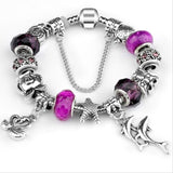 European Ocean Beach Seashell Turtle Dolphin Crystal Bead Bracelet (many colours to choose from)