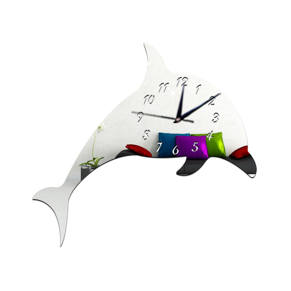 Three-dimensional Cartoon Dolphin Decorative Wall Clock