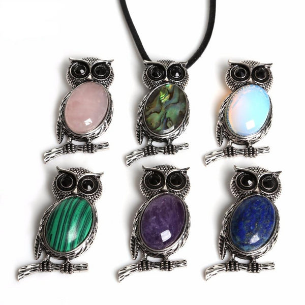 Vintage Owl Necklace Pendant Suspension Necklace Natural Stone Pendant For Women