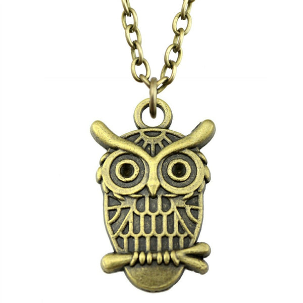 Bronze Vintage Owl Pendant Necklace - Fashion Jewelry Gift For Women (silver available as well)