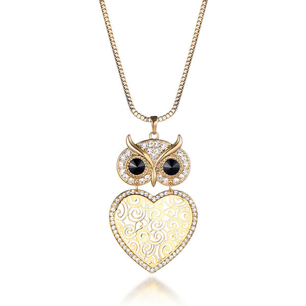 Stunning Owl and Heart Necklace for Her (comes in silver / gold and rose gold color)