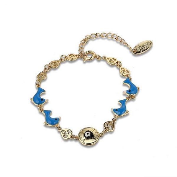 Absolutely Gorgous Gold Plated Blue Dolphin and Heart Bracelet
