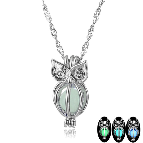 Glowing Owl Luminous Stone Choker Pendant Necklace (3 Colors Available)
