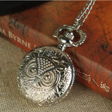 Absolutely Stunning Silver Color Quartz Pocket Watch Owl Necklace and Pendant