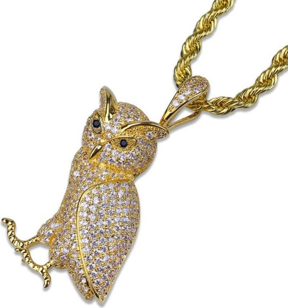 "Hip Hop Animal Necklace Copper Golden Iced Out Micro Pave CZ Stone Owl Pendant Necklaces 24"" Stainless Steel Rope Chain"