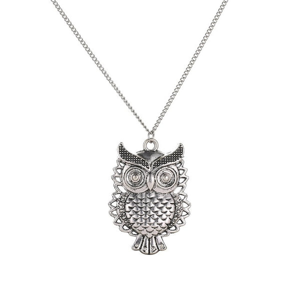 Vintage Vivid Carved Owl Antique Silver Necklace for Women
