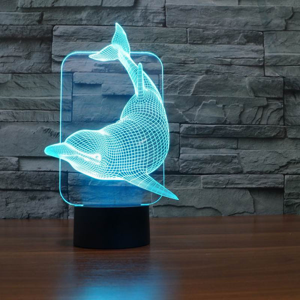 Lovely 3D LED Dolphin Table Lamp - 7 Colours Changeable