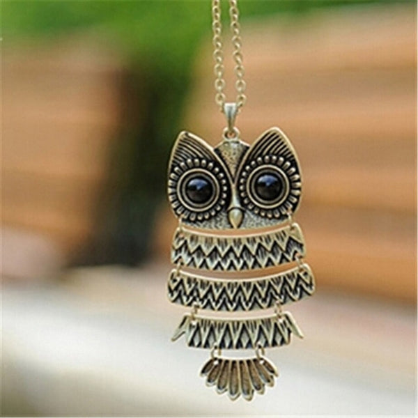 Antique Bronze Owl Pendant Necklace - Fashion Jewelry