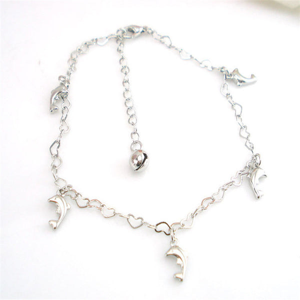 Intricate Heart Shaped Chain Dolphin Pendant Anklet