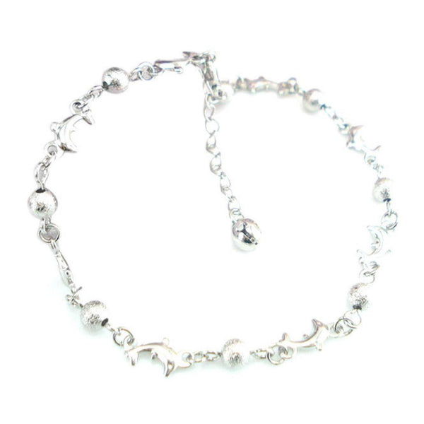 Stylish Matte Beads Dolphin Anklet