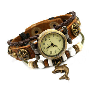 Vintage Style Leather Adjustable Dolphin Charm Watch