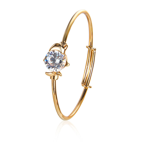 Lovely 18k Gold Plated Austrian Crystal Dolphin Bangle