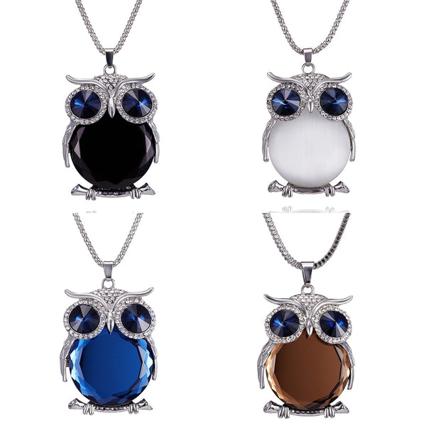 Crystal Rhinestone Owl Pendant Necklace - For Women