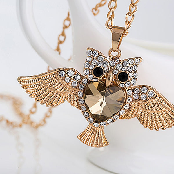 Gold Plated Heart and Crystal Owl Necklace