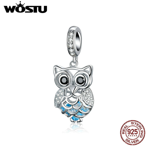 Lovely 925 Sterling Silver Owl Charms CZ Bead Fit Original Bracelet Pendant For Women
