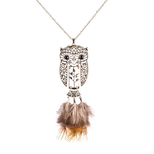Unique Bohemian Long Yellow Feather Crystal Owl Necklace and Pendant