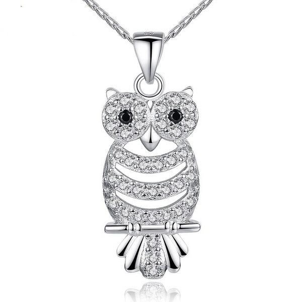 Retro Owl AAA Austrian Zircon  White Gold Color Pendant Necklace For Her