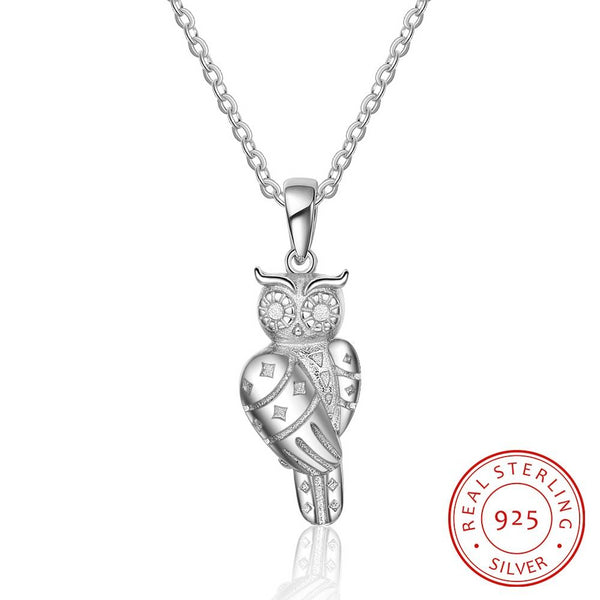 Cute Owl 925 Sterling Silver Pendant Necklaces for Women - Fine Accessories