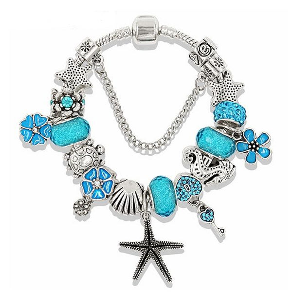 Blue Ocean Style Heart Flower Charm Pandora Bracelets & Bangles - Perfect Gift For Her