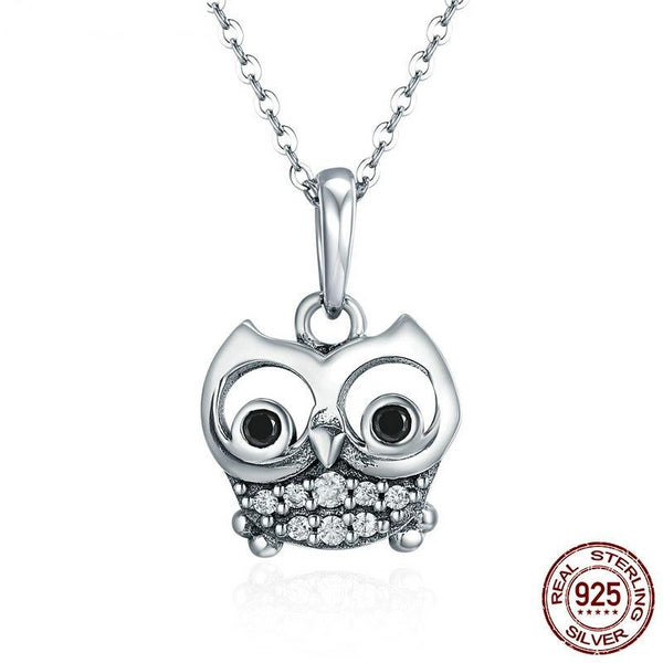 Authentic 100% 925 Sterling Silver Cute Owl Necklace - For Women