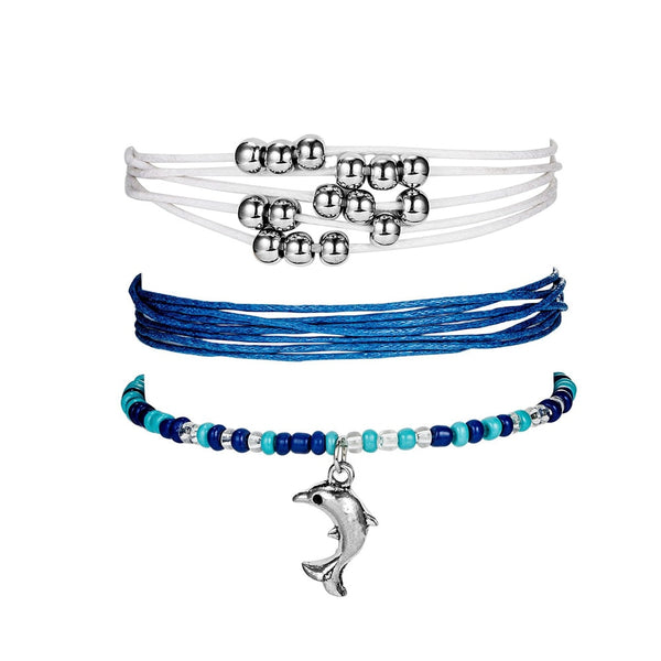 3 Piece Stunning Bohemian Style Blue White Rope Dolphin Bracelet for Her