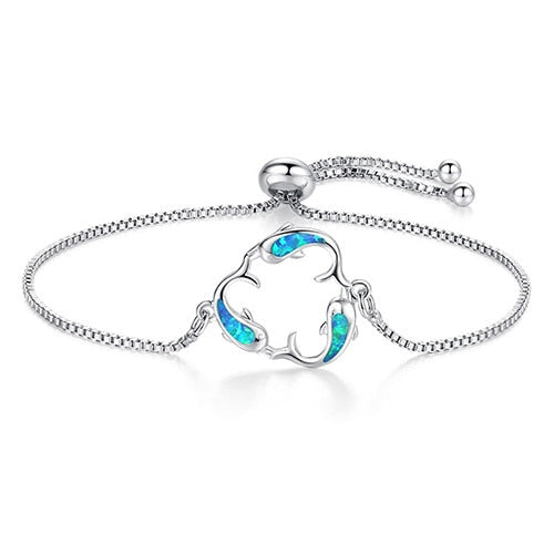 Blue/white Opal Box Chain Bracelet Adjustable Dolphin Charm Bracelets for Women