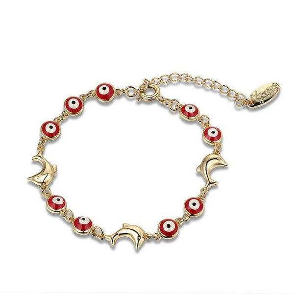 Fashion Red Evil Eye Dolphin Stainless Steel Bracelet