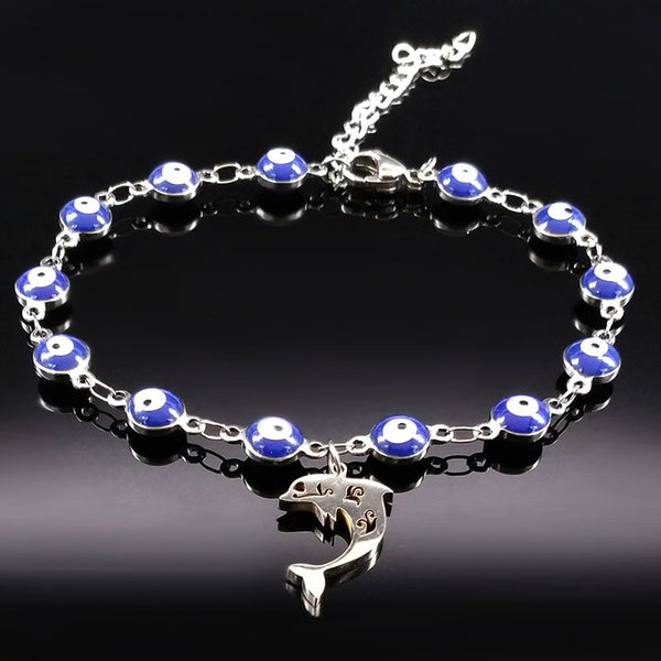 Fashion Blue Evil Eye Dolphin Stainless Steel Bracelets