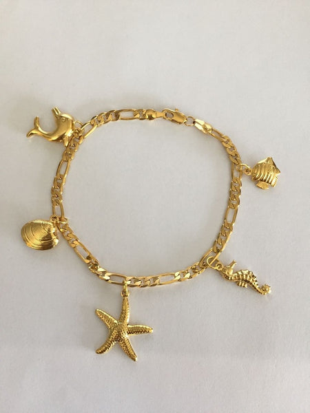 Gold Plated Dolphin Shell Seahorse Starfish Charm Bracelet