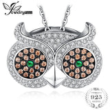 925 Sterling Silver Russian Simulated Emerald Owl Pendant - (Link Chain Necklace Not Included)
