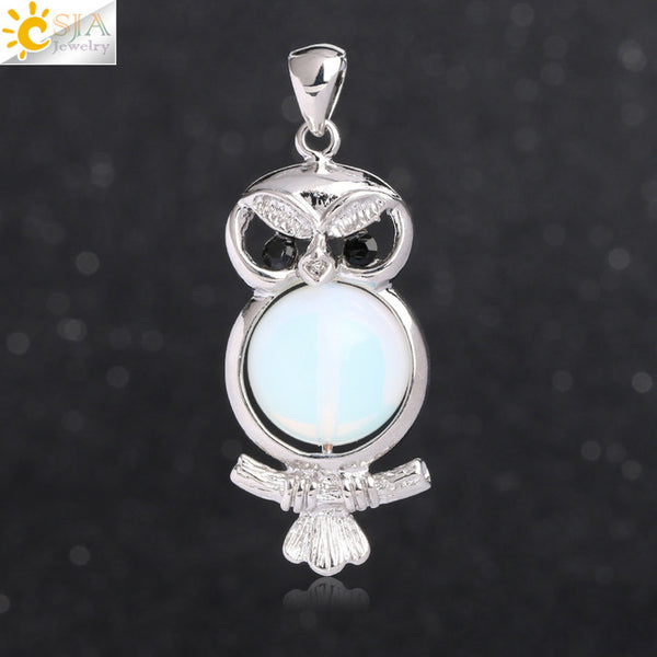 Cute Owl Round Ball Bead Natural Stones Pendant Necklace- Pink Quartz / Snowflake Stone Pendants for Women