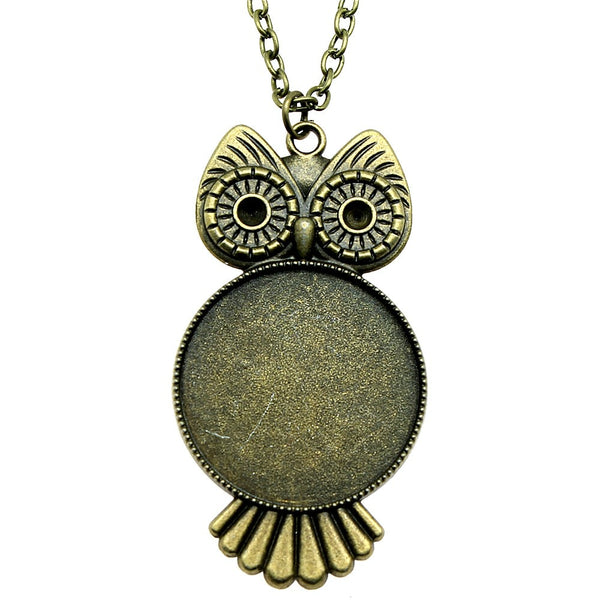 Round Inner Size 30mm Owl Style Cameo Cabochon Base Setting Pendant Necklace