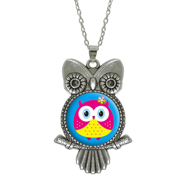 Glass Cabochon Owl Pictured Pendant Necklace - Jewelry Statement with Silver Link Chain - Perfect Gift