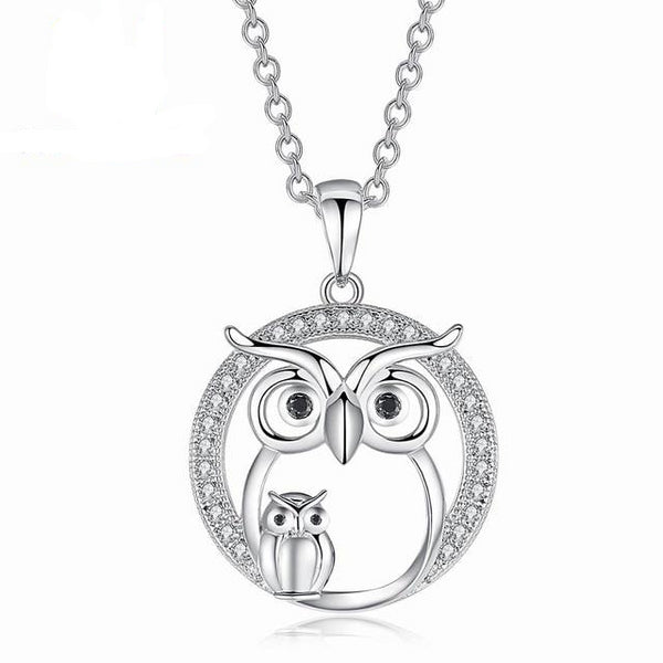 Cute Owl Mother and Baby Owls Round Pendant Necklace