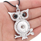 New Rhinestone Owl Pendant Metal Snaps Button Necklace Fit For Women