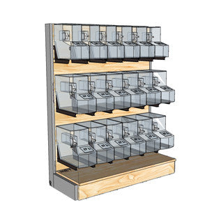 ORGANIC BULK STORES WOOD FURNITURE SHELVES GRAVITY BINS