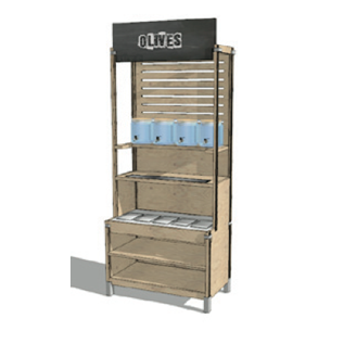 ECO FRIENDLY BULK FOOD WOOD FURNITURE SHELVES RETAIL STORAGE