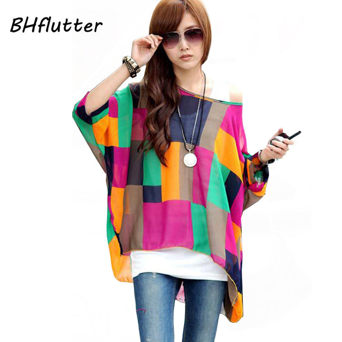 Bright Printed Plus Size Poncho Top