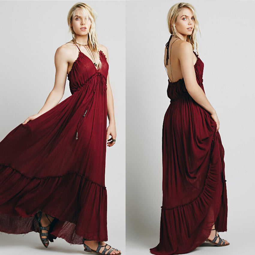 CA Mode Brand Halter Party Maxi Dress - Hourglass Apparel