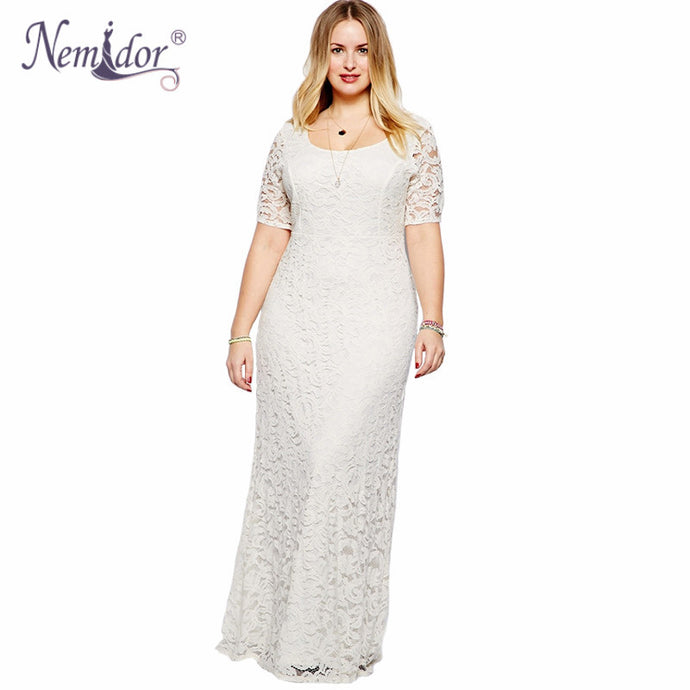 Nemidor Lace Short-Sleeve Scoop-Neck Maxi Dress with Plus Sizes - Hourglass Apparel