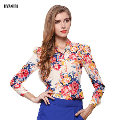 Fitted Floral Fashion Shirt Blouse