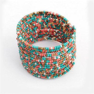 Multicoloured Beaded Layered Bracelet - Hourglass Apparel