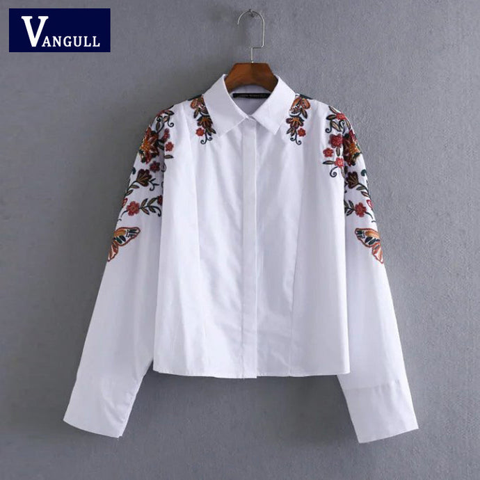 'Flowers' Embroidered Shirt Blouse - Hourglass Apparel
