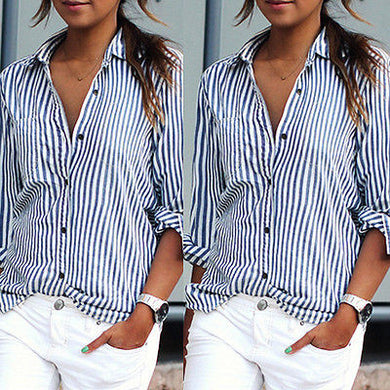 Chiffon Striped Collared Button Shirt