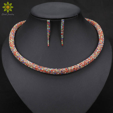 Multicolour Tube Necklace with Earrings - Hourglass Apparel