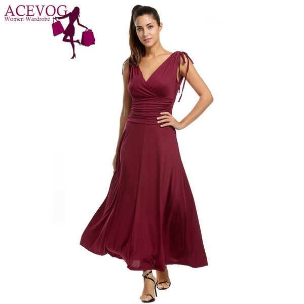 ACEVOG V-Neck Maxi Dress with Tie-Up Shoulder Details