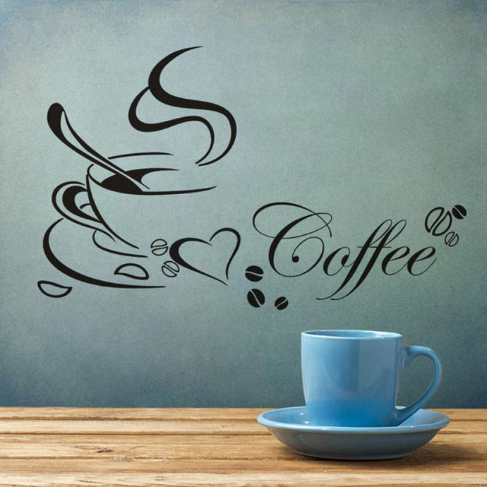 Coffee and Hearts Wall Decal Sticker